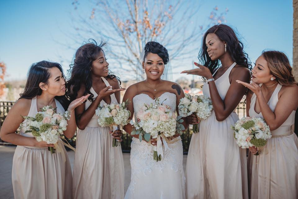 Bride and bridesmaids at Aria